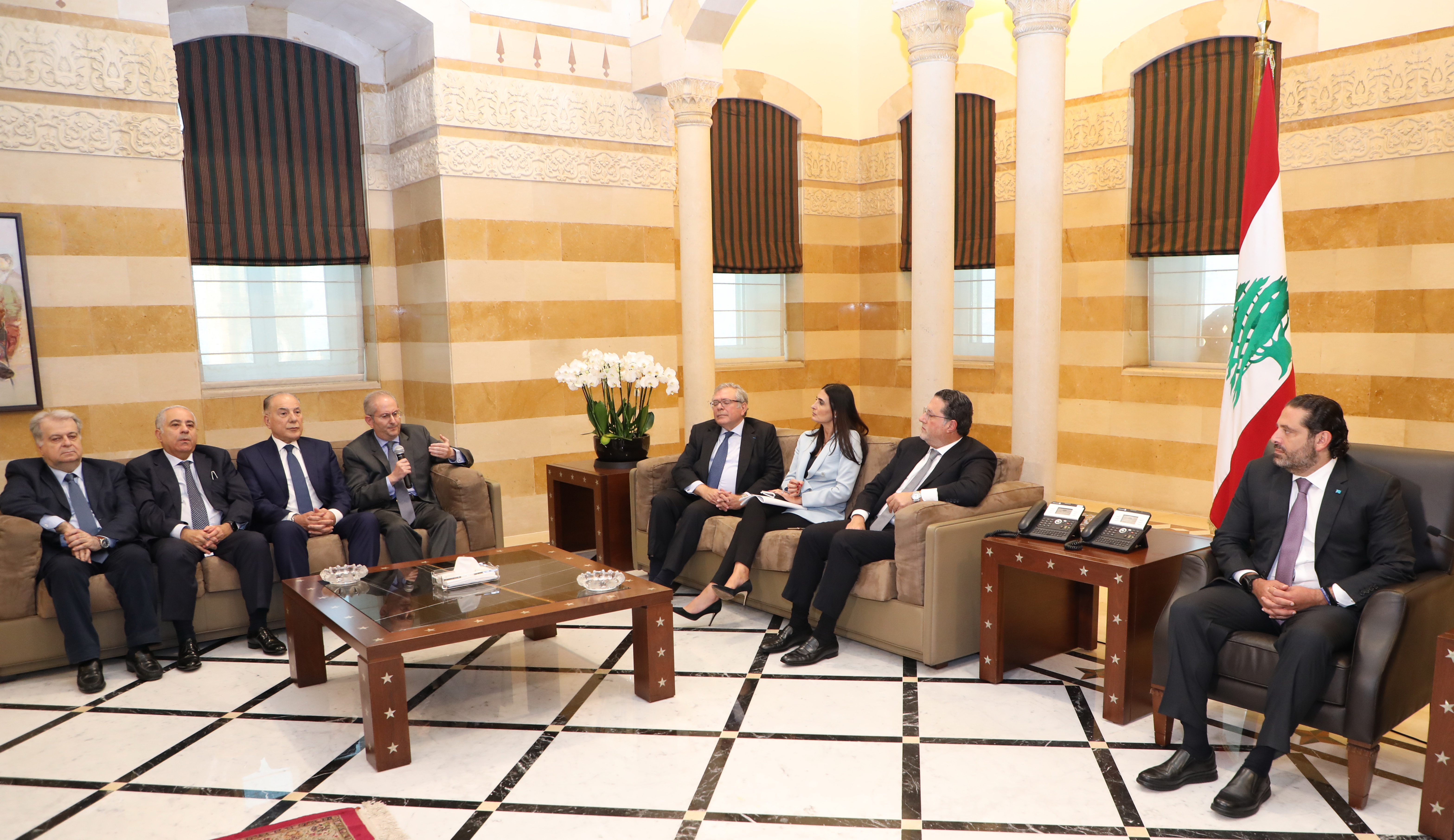 Pr Minister Saad Hariri meets a Minister Mouhamad Choukair with a Delegation 1