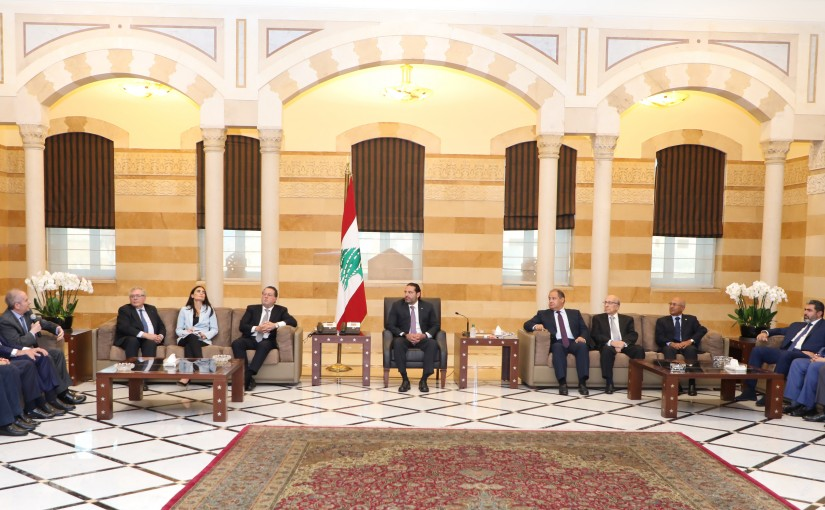 Pr Minister Saad Hariri meets a Minister Mouhamad Choukair with a Delegation