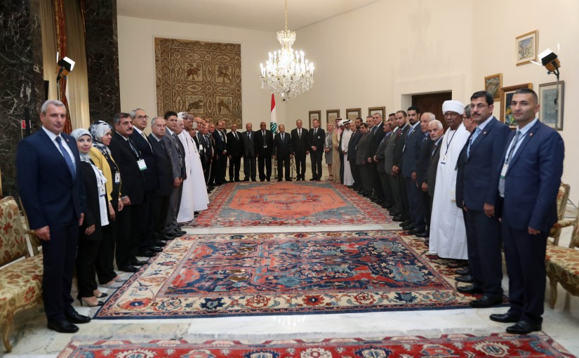 President Michel Aoun Meets a Delegation of Veteran in The Arab States