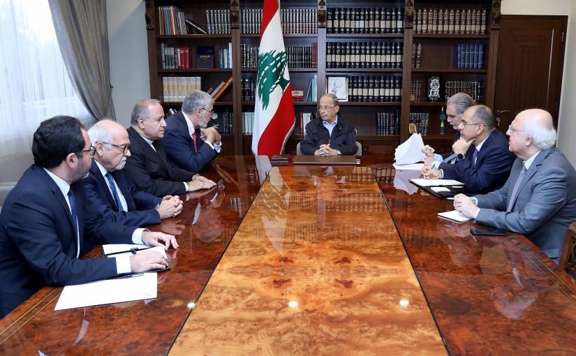President Michel Aoun meets Dr. Fadlo Khoury and father Salim Dakash and Mr. Ibrahim Khoury .