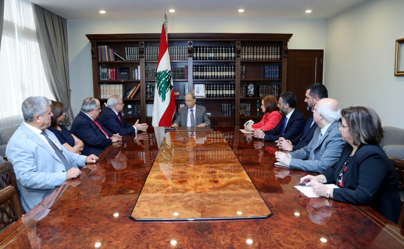 President Michel Aoun meets MP Mario Aoun with a delegation from Damour.