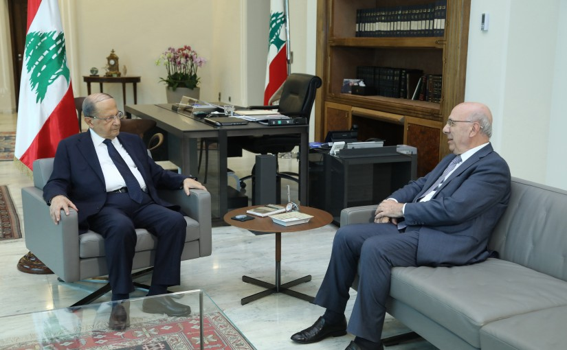 President Michel Aoun meets Former Minister Shakib Qortbawi.