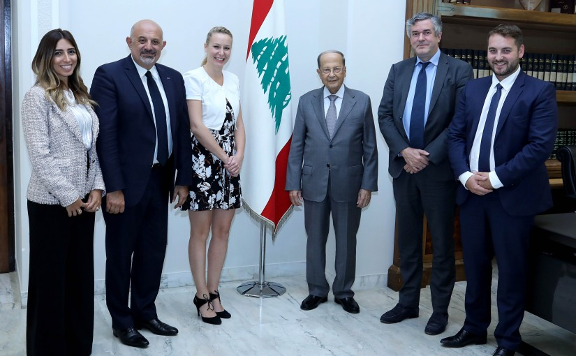 President Michel Aoun meets the President of the ISSEP University, Mrs. Marion Marechal Le Pen with a delegation.