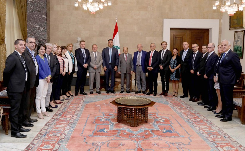 President Michel Aoun a delegation from the administrative board of Saint Georges University Hospital and a delegation from European universities and hospitals