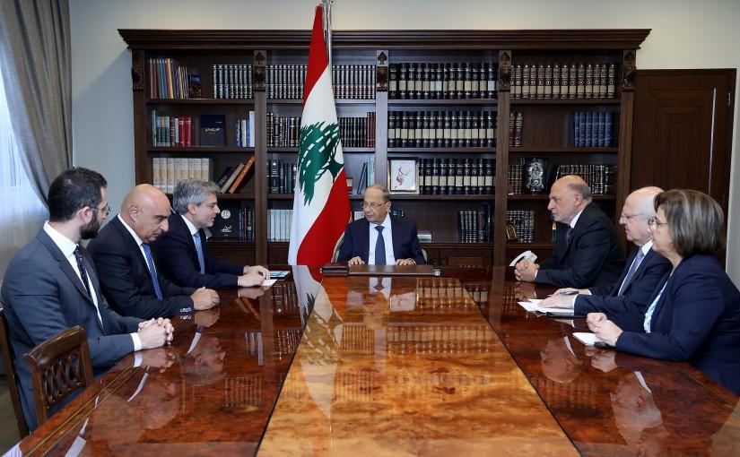 President Michel Aoun meets a delegation of medicine importers in Lebanon.