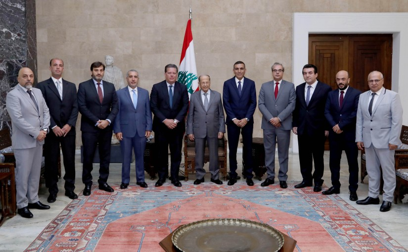 President Michel Aoun meets the new administrative board of Racing Club-Beirut.