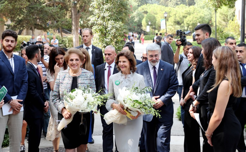 The First Lady Ms. Nadia Shami Aoun attends the Dialogue Table organized by Mentor in the presence of Her Majesty Sweden Queen Silvia at  AUB University.