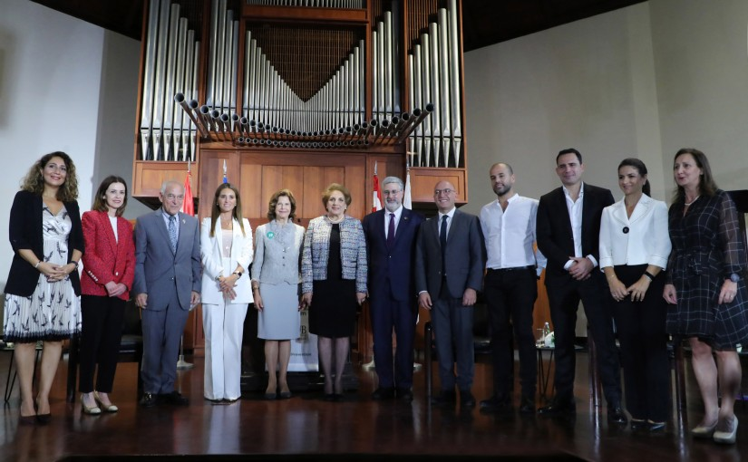 The First Lady Ms. Nadia Shami Aoun attends the Dialogue Table organized by Mentor in the presence of Her Majesty Sweden Queen Silvia at the AUB University.