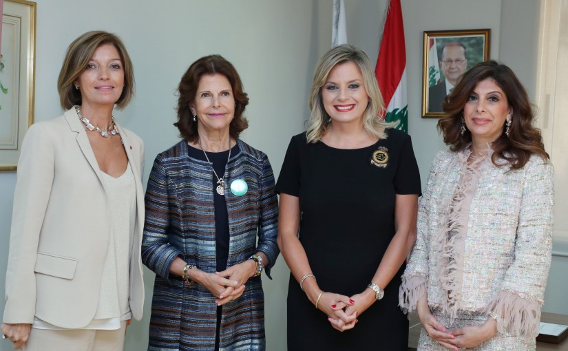 Mrs. Claudine Aoun Roukoz President of the NCLW in the presence of Her Majesty Queen Silvia of Sweden (A Prominent Lebanese Women Dialogue).
