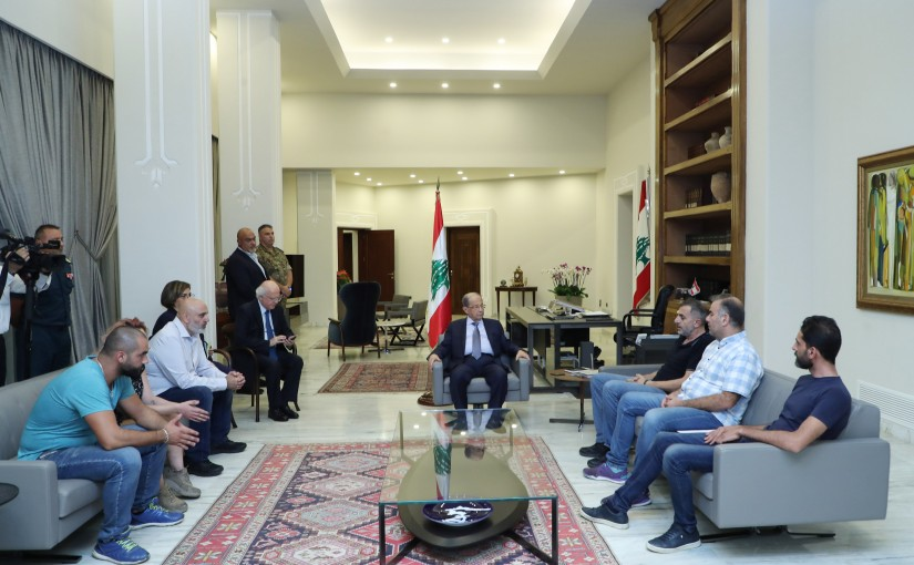 President Michel Aoun meets a Delegation from Protesters