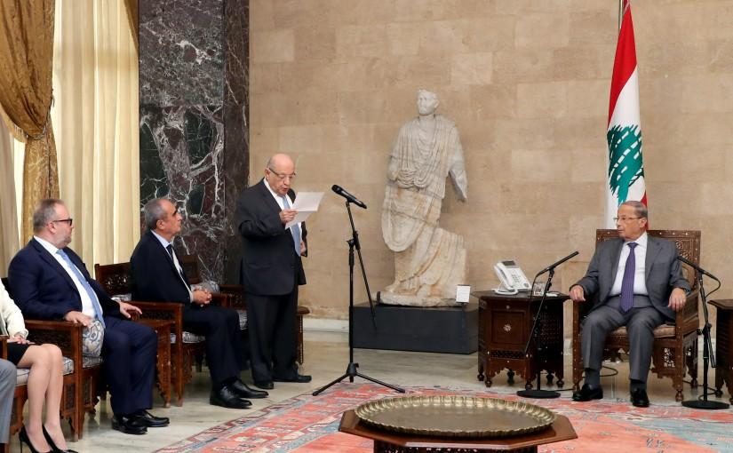 President Michel Aoun meets Former MP Naamatallah Abi Nasr with a delegation.