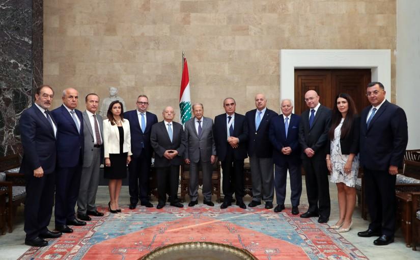 President Michel Aoun meets Former MP Naamatallah Abi Nasr with a delegation