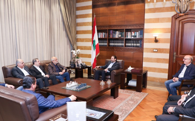 Pr Minister Saad Hariri meets Minister Akram Chehayeb with a Delegation