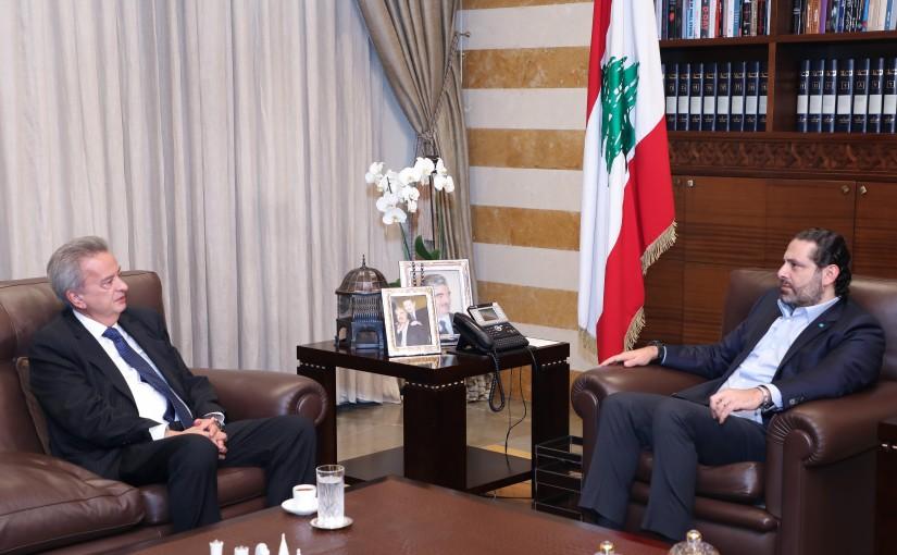 Pr Minister Saad Hariri meets Mr Riyadh Salameh
