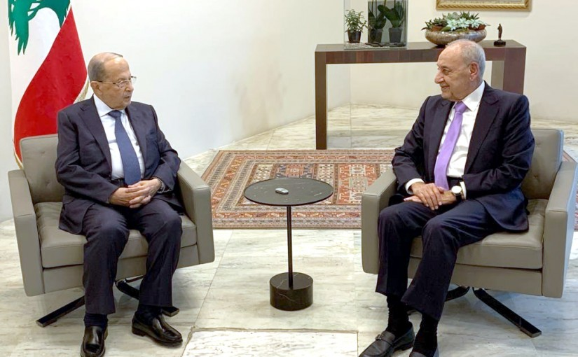President Michel Aoun Meets House Speaker Nabih Berri.