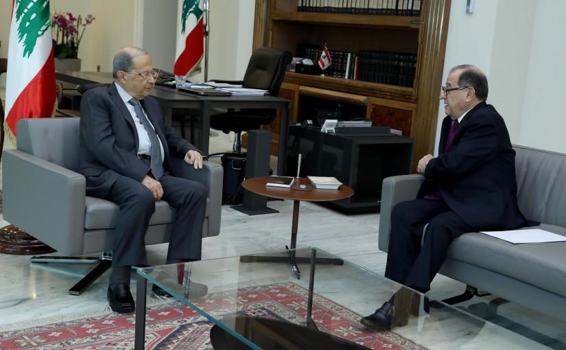 President Michel Aoun meets Former Minister Karim Pakradouni.