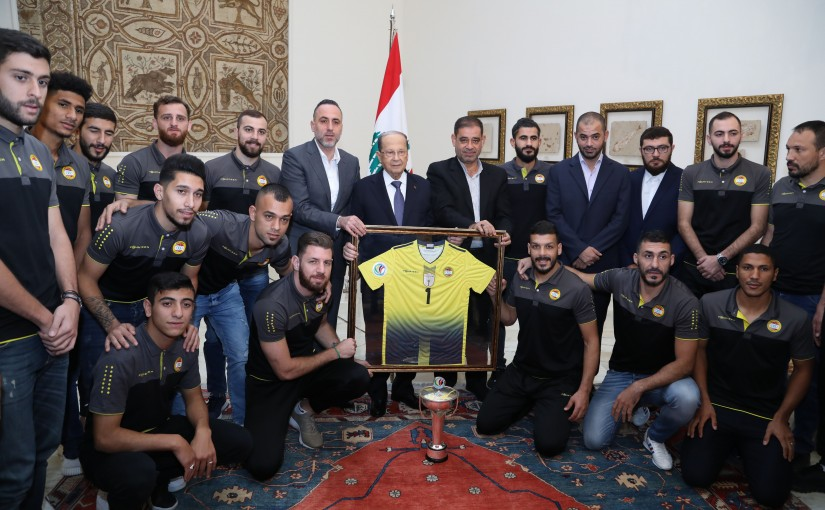 President Michel Aoun meets Al Ahed football team.