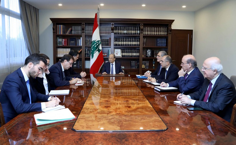 President Michel Aoun meets Christophe Farnaud, head of North Africa and Middle East department at the French foreign ministry and French Ambassador Bruno Foucher.
