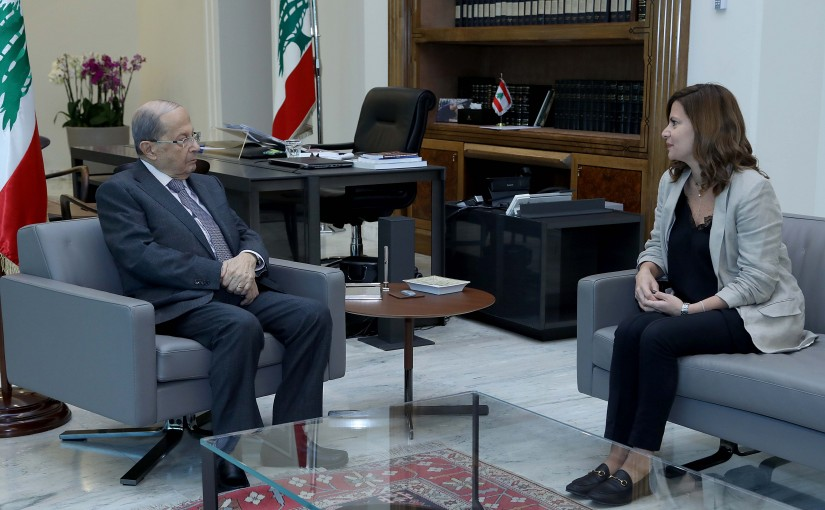 President Michel Aoun meets Minister of Energy and Water Nada Boustani.