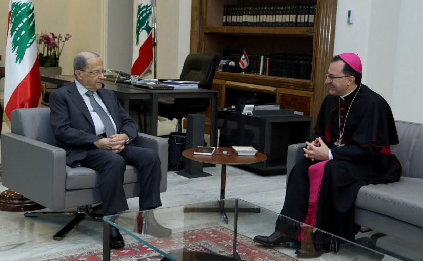 President Michel Aoun meets Monseigneur Joseph Spiteri.