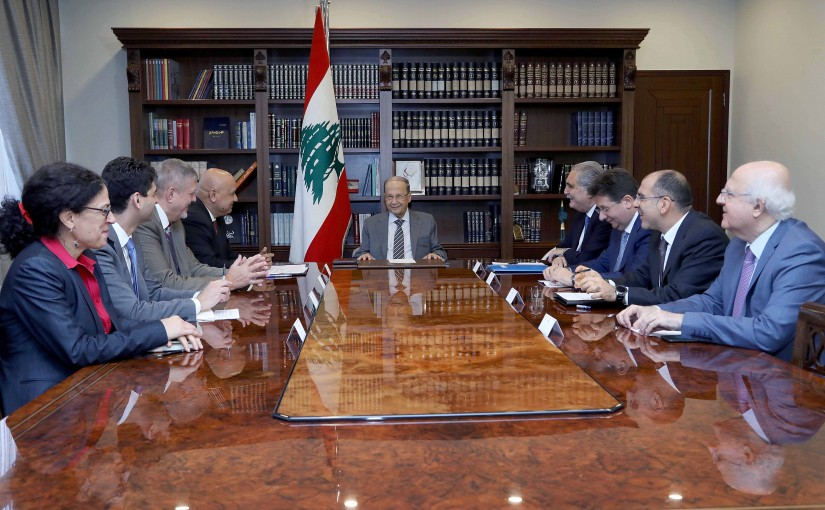 President Michel Aoun meets Mr. Saroj Kumar Jha World Bank's Regional Director for Central Asia with a delegation.