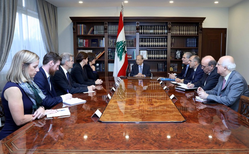 President Michel Aoun meets Ambassador Emmanuelle Lamoureux and  Ambassador Leni Stenseth.