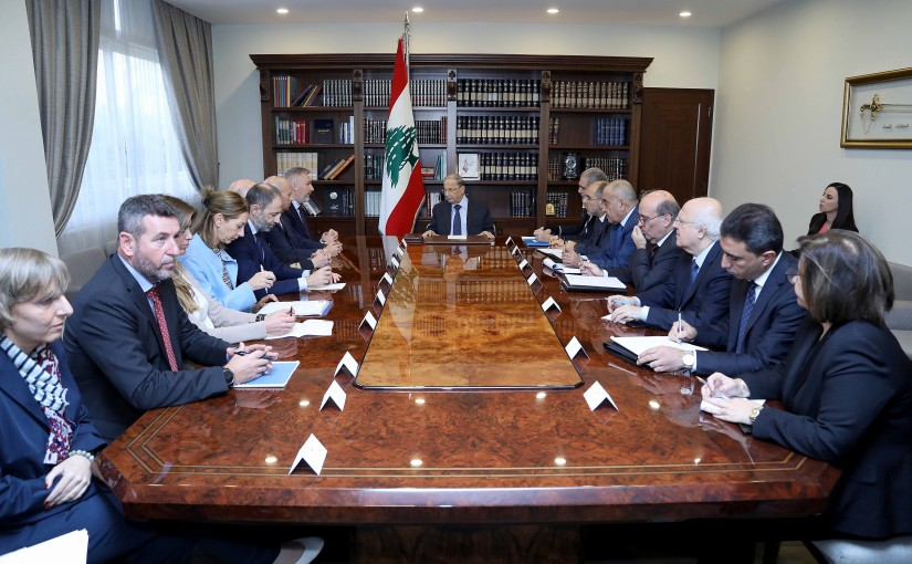 President Michel Aoun meets Italian Minister of Defense Lorenzo Guerini with a delegation.