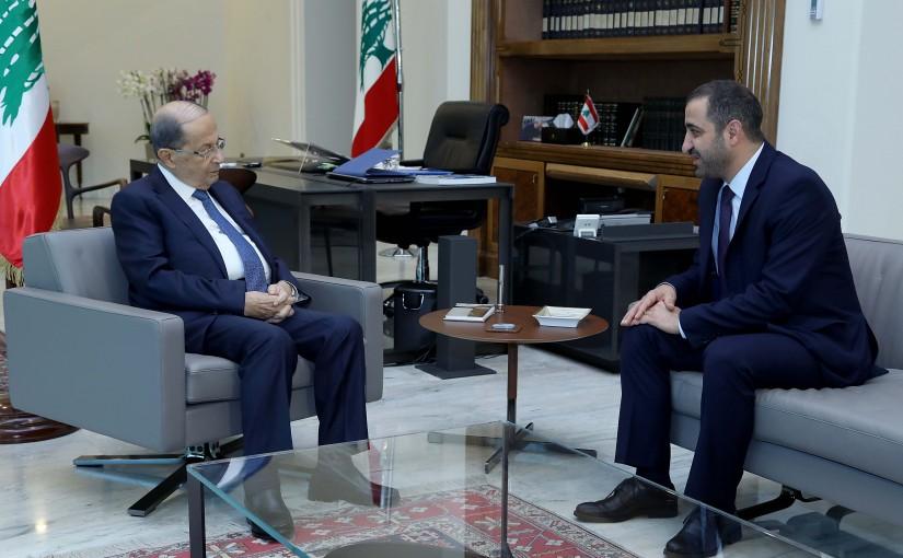 President Michel Aoun meets Minister Ghassan Atallah.