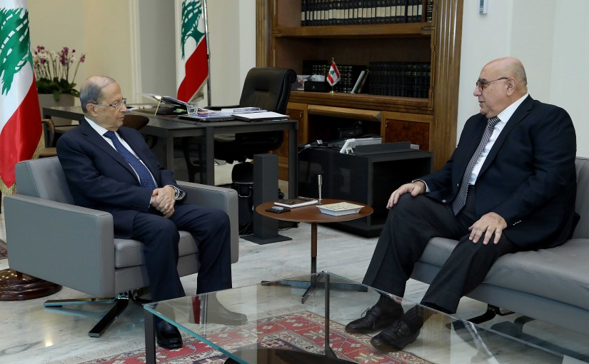 President Michel Aoun meets retired Brigadier General Mustafa Hamdan.