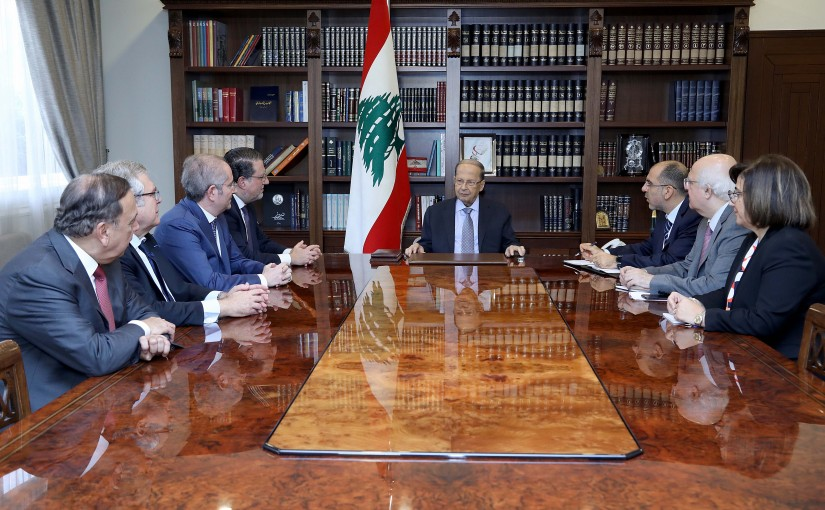 President Michel Aoun meets Minister Mohamed Choucair with a delegation.