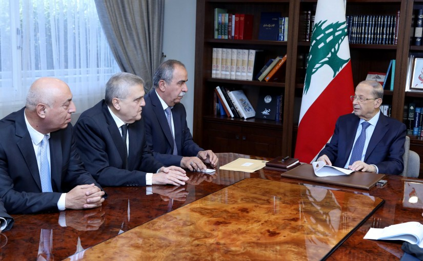 President Michel Aoun meets Mr. Hasan Fakieh with a delegation from General Labor Union.