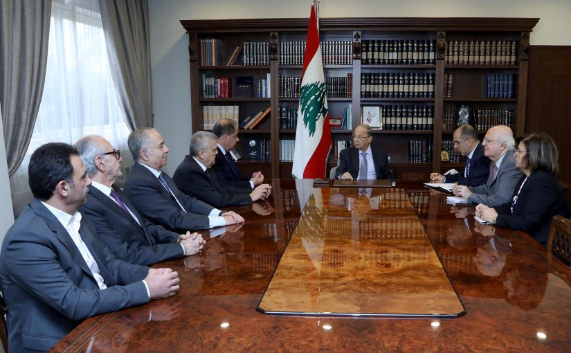 President Michel Aoun meets President of the Economic and Social Council Charles Arbid with a delegation.