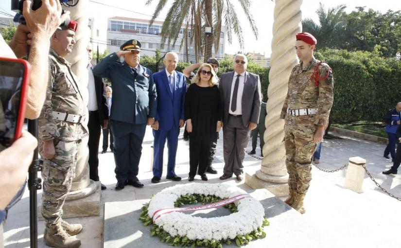 MP Abdel Rahim Mourad Put a Wreath on the Grave of Pr Riad el Soleh