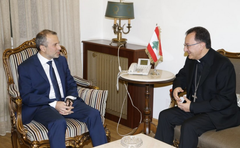 Minister Gebran Bassil meets Apostolic nuncio Ambassador