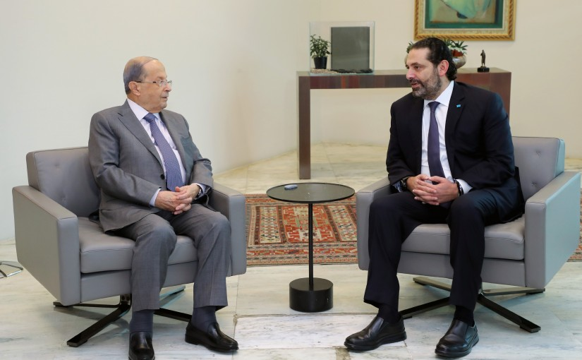 President Michel Aoun meets caretaker Prime Minister Saad Hariri.