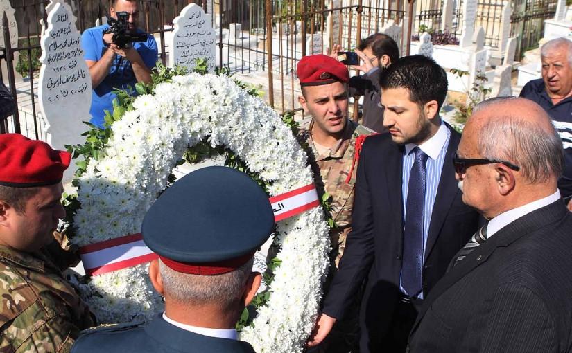 MP Tarek el Merebi put a Wreath on the Grave of Mr Adnan el Hakim