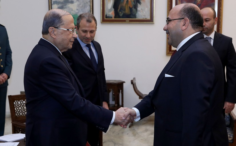 President Michel Aoun receives the credentials of the Ambassador of the Hashemite Kingdom of Jordan Walid Abdel Rahman Jafal AlHadid.