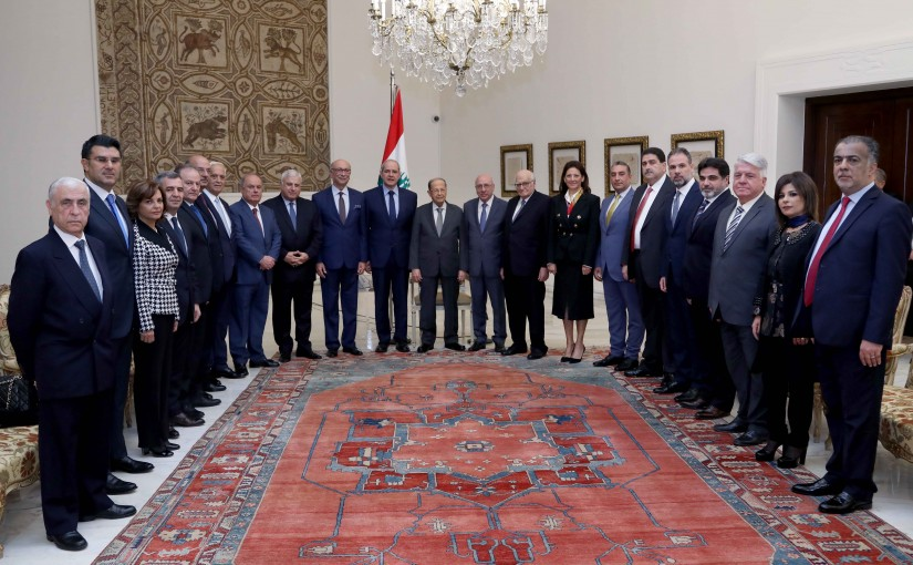 President Michel Aoun meets Lawyer Melhem Khalaf the president of the Beirut Bar Association with a delegation.