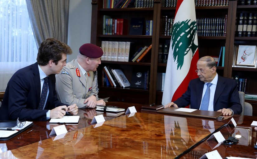 President Michel Aoun meets the Chief Adviser to the British Ministry of Defense for Middle East Affairs, General Sir John Lorimer with a delegation.