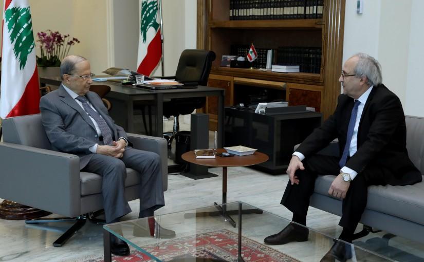 President Michel Aoun meets Minister of Justice Albert Sarhan.