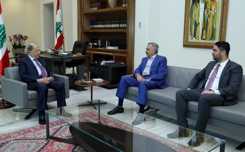 President Michel Aoun meets Ministers Talal Arslan and Saleh Gharib.