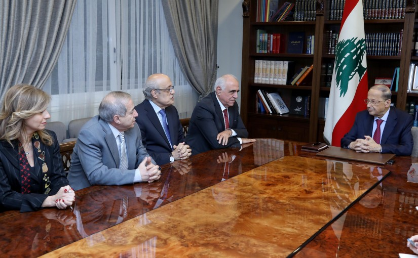 President Michel Aoun meets Prof. Sharaf Abu Sharaf with a delegation.