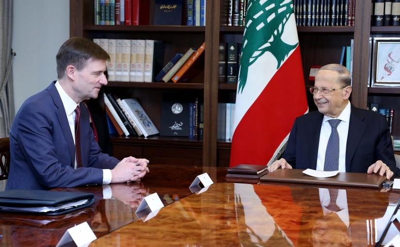 President Michel Aoun meets Amb. David Hale with a delegation.