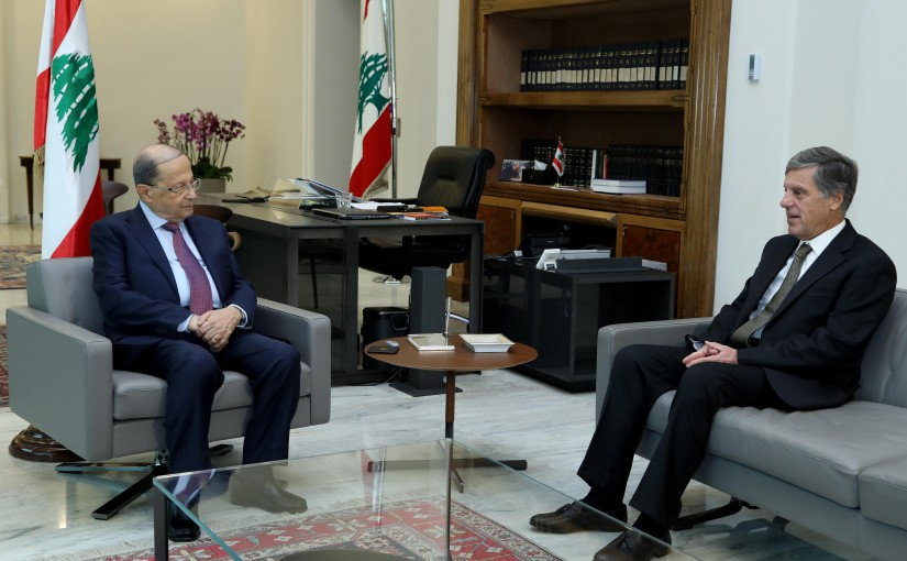 President Michel Aoun meets Ambassador of Greece in Lebanon, Mr. Franciscos Verros.