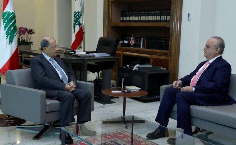 President Michel Aoun meets Former Minister Wiam Wahab.