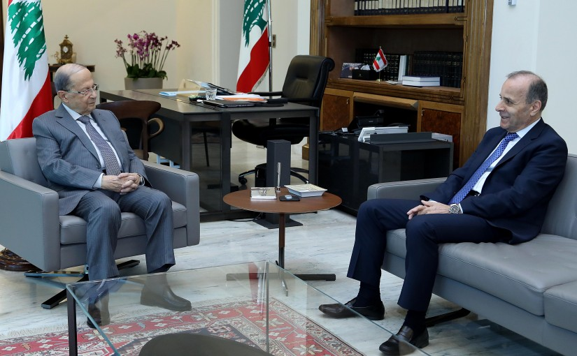 President Michel Aoun meets Judge Tannous Mashleb president of the constitutional council.