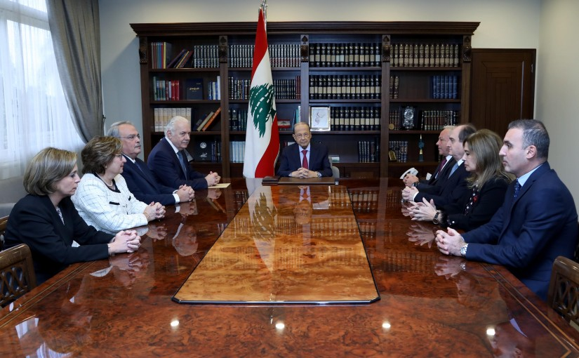 President Michel Aoun meets Supreme judicial council with a delegation.