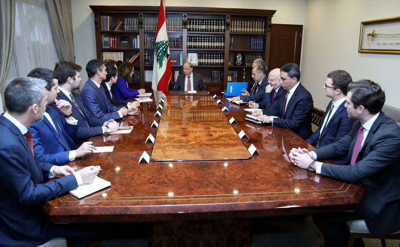 President Michel Aoun meets a delegation of delegates of International institution interested in investing in Lebanese financial instruments.