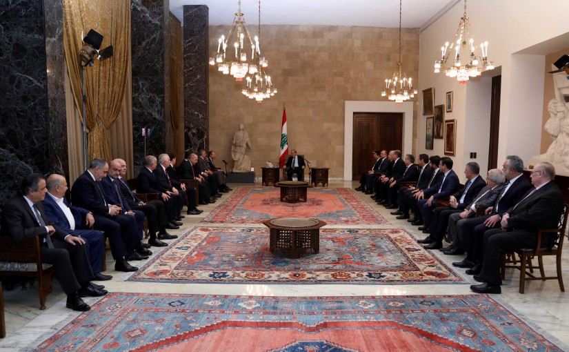 President Michel Aoun meets  Conglomerate strong Lebanon Block
