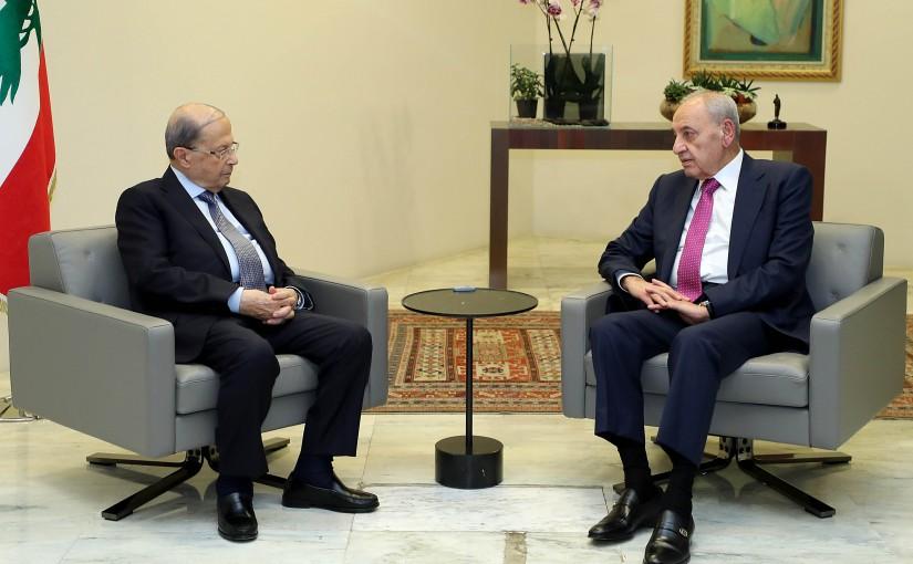 President Michel Aoun meets House Speaker Nabih Berri .